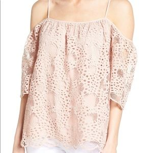Vince Camuto Blush Lace Top Off Shoulder